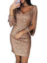 Above Knee V-Neck Long Sleeve Pullover Bodycon Dress