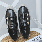 Lace-Up Low-Cut Upper Round Toe Rhinestone PU Sneakers