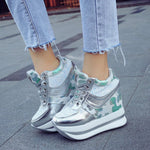 High-Cut Upper Lace-Up Round Toe Platform Casual Hidden Elevator Heel Sneakers