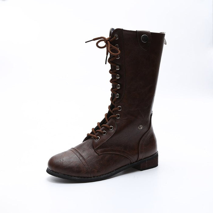Block Heel Back Zip Round Toe Plain Cotton Casual Boots