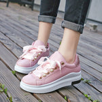 Low-Cut Upper Round Toe Beads Lace-Up Casual PU Sneakers