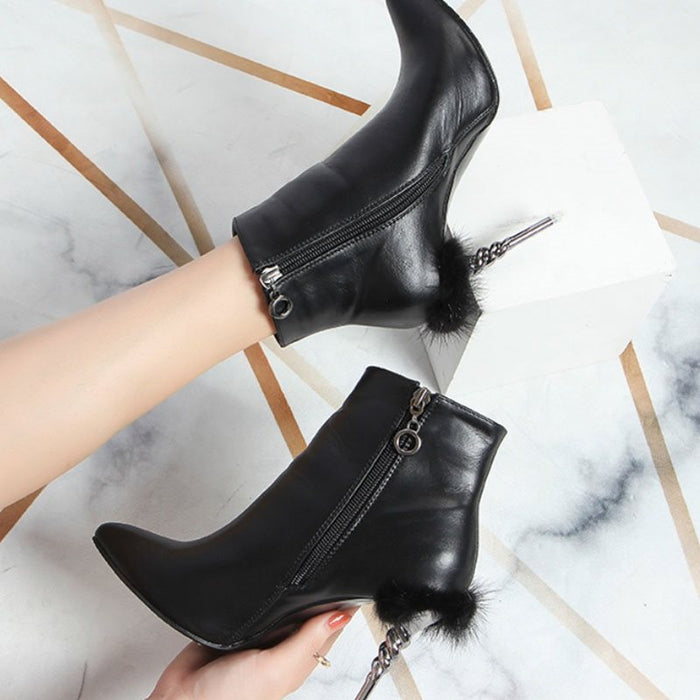Black Sexy Pointed Toe Short Floss Pompon Ankle Boots