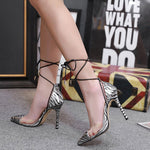 Pointed Toe Lace-Up Heel Covering Stiletto Heel Low-Cut Upper Leopard Sandals