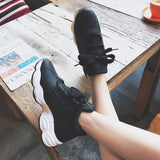 Lace-Up Platform Mid-Cut Upper Round Toe PU Casual Sneakers