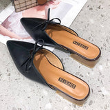 Block Heel Closed Toe Bow Slip-On Summer Casual Slippers