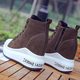 Plain Side Zipper Round Toe Hidden Elevator Heel Casual Short Floss Boots
