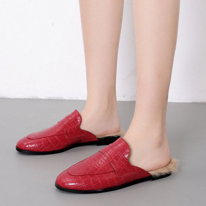 Closed Toe Slip-On Block Heel Rubber Spring Slippers