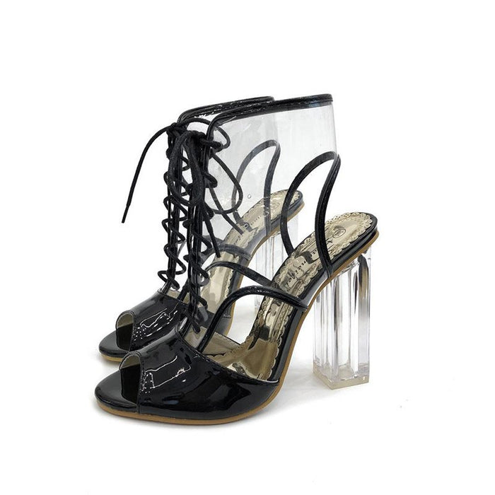 Chunky Heel Peep Toe Strappy Lace-Up See-Through Casual Sandals