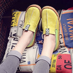 Slip-On Flat With Print Round Toe Low-Cut Upper Letter Thin Shoes