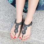 Thong Elastic Band Flat With Low-Cut Upper Rhinestone Sandals