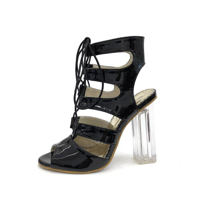 Chunky Heel Peep Toe Lace-Up Strappy Hollow Plain Sandals