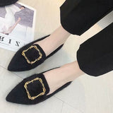 Block Heel Slip-On Buckle Pointed Toe Casual 2.5cm Thin Shoes