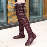 Plain Round Toe Side Zipper Block Heel Lace-Up Casual Boots