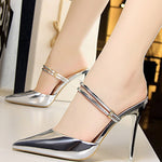 Pointed Toe Slip-On Stiletto Heel Plain Sequin Sandals