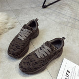 Leopard Mid-Cut Upper Lace-Up Platform Suede Sneakers