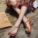 Slip-On Strappy Flat With Thong Casual Print Sandals