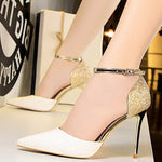 Heel Covering Pointed Toe Line-Style Buckle Stiletto Heel Sequin Low-Cut Upper Sandals