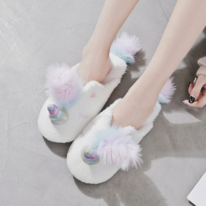 Suede Unicorn White Home Slippers