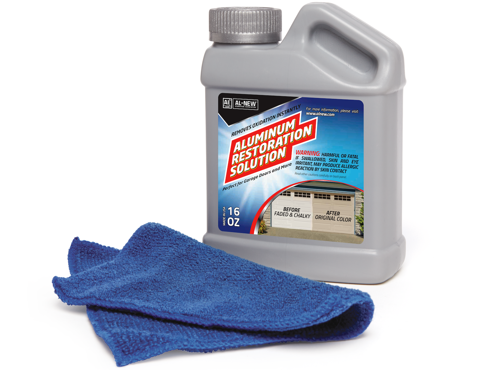 AL-NEW's Aluminum Restoration Solution: Just wipe it on, and watch it instantly remove years of aluminum oxidation. AL-NEW doesn't require pre-cleaning, stripping, or masking.