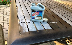 Before and after how to clean patio tables and furniture with al new aluminum restoration solution.