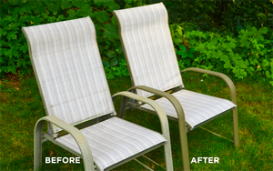 Before and after using AL-NEW to clean patio furniture.