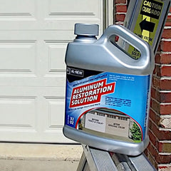 16 ounce bottle of AL NEW aluminum restoration solution for cleaning aluminum and metal surfaces like patio furniture.