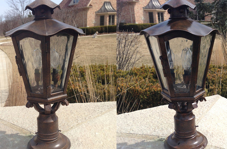 ALNEW aluminum restoration solution is a cleaner that works on outdoor light fixtures.