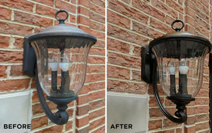Before and after photos of how to clean outdoor lights and lighting fixtures.