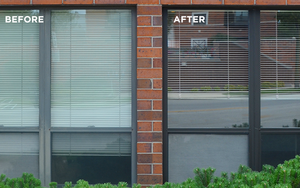 Before and after using the easiest way to clean entry doors and window frames, it's al new.