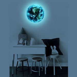 Wall sticker 3D luminous blue earth