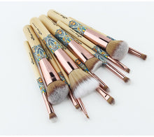 Load image into Gallery viewer, 12 Rose gold and bamboo wood  makeup brushes