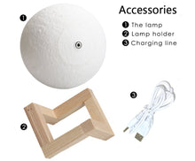 Load image into Gallery viewer, Rechargeable Moon Lamp /  2 Color Change / 3D Light Touch