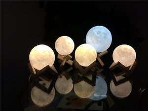 Rechargeable Moon Lamp /  2 Color Change / 3D Light Touch
