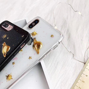 "Phone case ""Golden and glittery universe"" for iPhone"