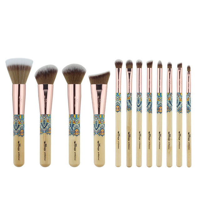 12 Rose gold and bamboo wood  makeup brushes