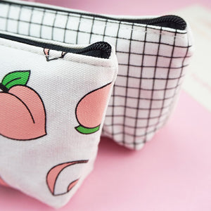 Trendy school pencil case Fruit Peach