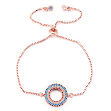 Load image into Gallery viewer, Circle and zircon bracelet with adjustable chain.