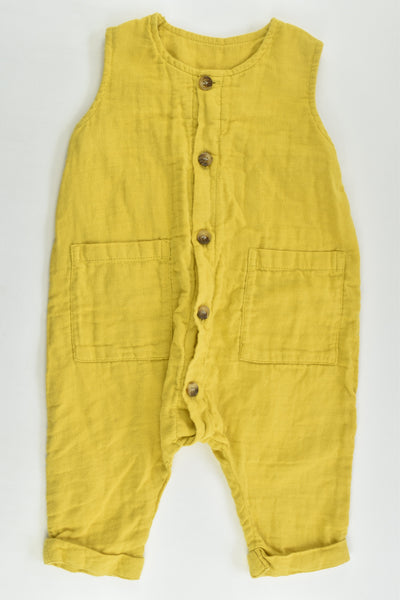 Baby Baby Size 00 (3-6 months) Mustard Playsuit with Wooden Buttons