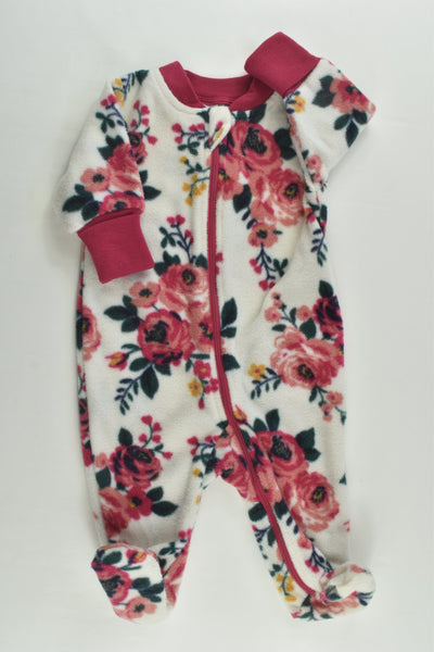 Baby Berry Size 000 Floral Footed Fleece Romper