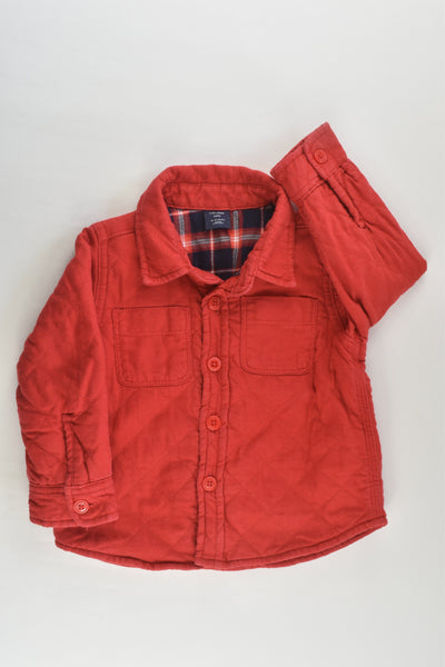 Baby Gap Size 1-2 (18-24 months, 90 cm) Red/Checked Lightly Padded Jumper