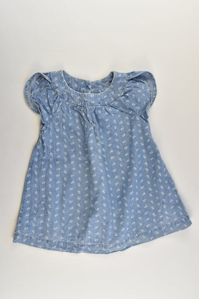 Baby Gap Size 2 (18-24 months) Lightweight Floral Denim Dress