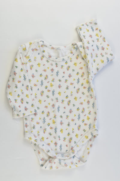 Brand Unknown Size 00 Floral Ribbed Bodysuit
