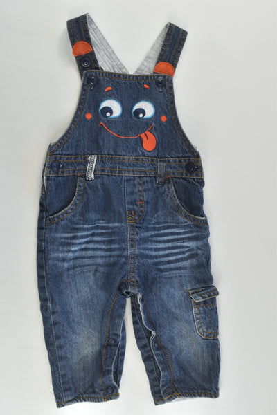 C&A (Germany) Size 000 (62 cm) Lined Funny Face Denim Overalls