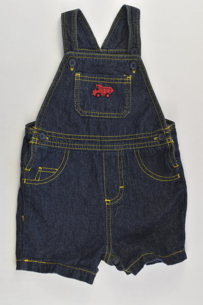 Carter's Size 0 (12 months) Lightweight Truck Short Denim Overalls