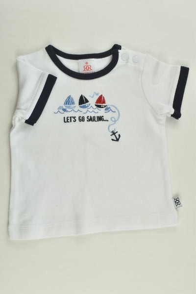 Catriona Rowntree Size 000 (0-3 months) 'Let's Go Sailing' T-shirt