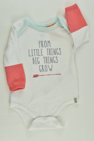 Cotton On Baby Size 00 'From Little Things Big Things Grow' Bodysuit