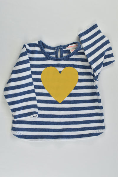 Country Road Size 000 (0-3 months) Striped Love Heart Top