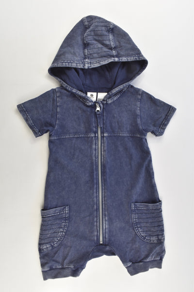 Dymples Size 1 (18 months, 84 cm) Denim-like Short Hooded Onesie