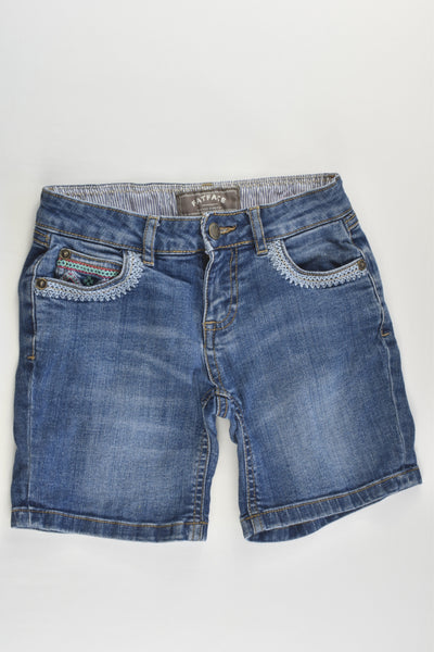 FatFace Size 6-7 Stretchy Denim Shorts with Embroidery