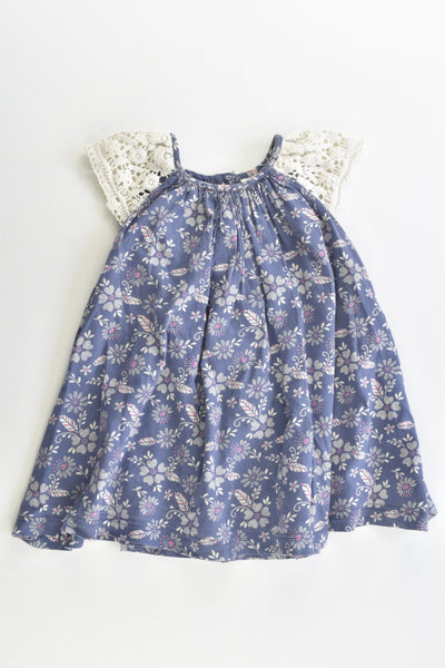 F&F Size 1 (12-18 months, 86 cm) Lined Floral Dress